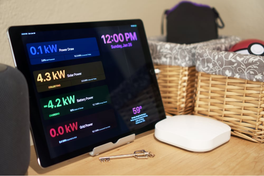 An iPad with a custom Solar Roof dashboard.