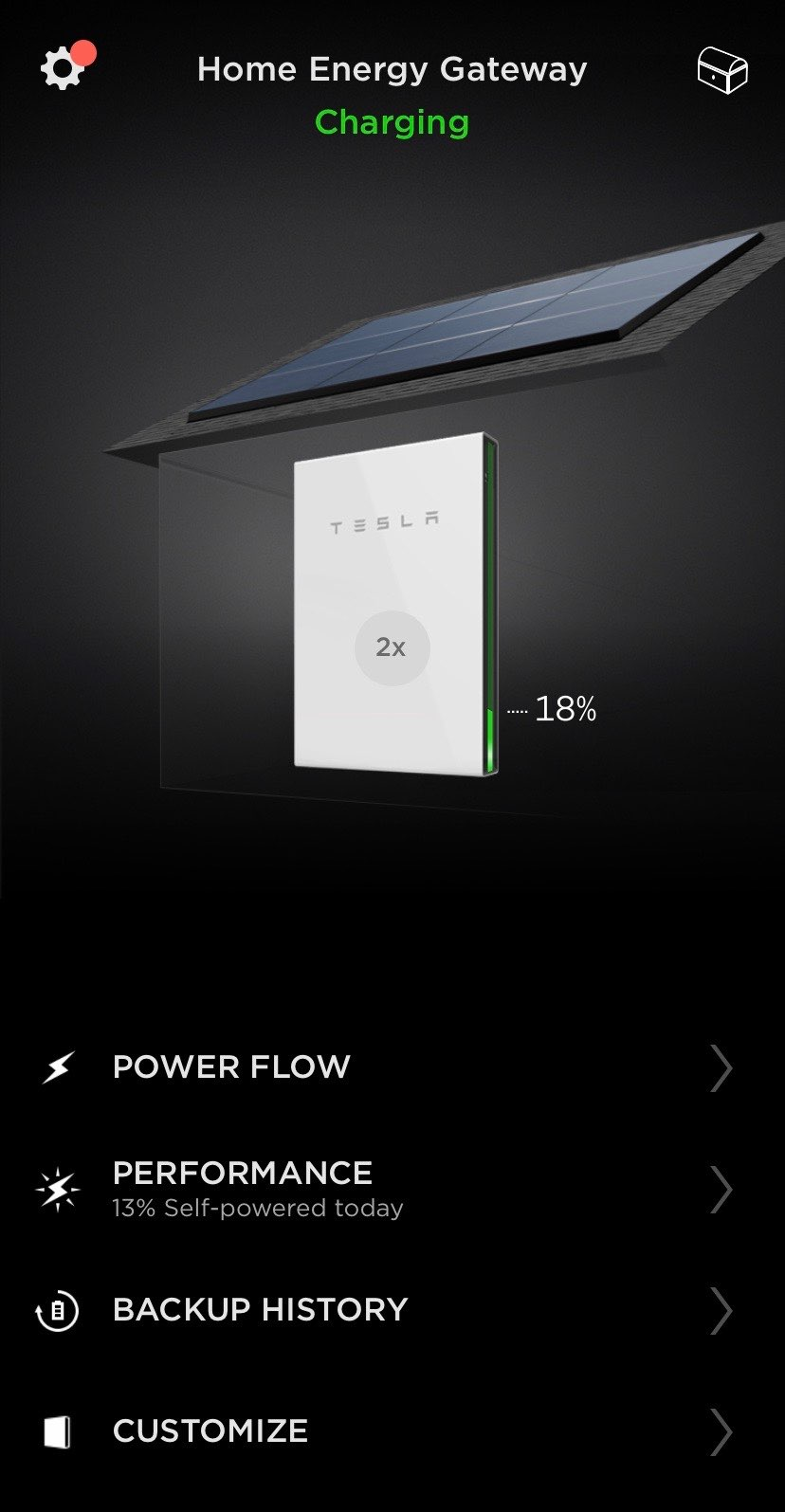 The Tesla App for controlling Solar Roof and Powerwall. Screenshot.