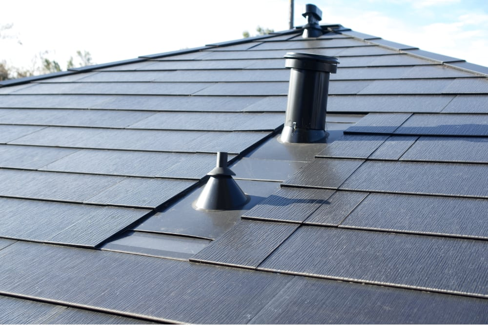a close up photo of the vents and trim of the Solar Roof